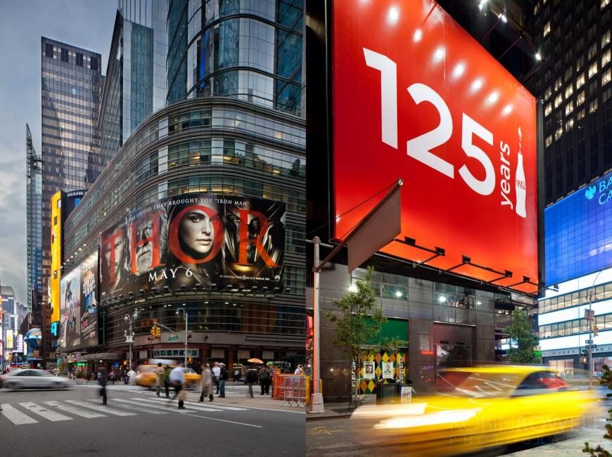 Clear channel spectacolor billboards robin rowell for What to do around times square
