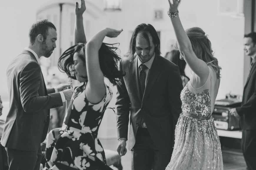 Wedding guests dancing at the Chateau Bellevue in Austin, Texas