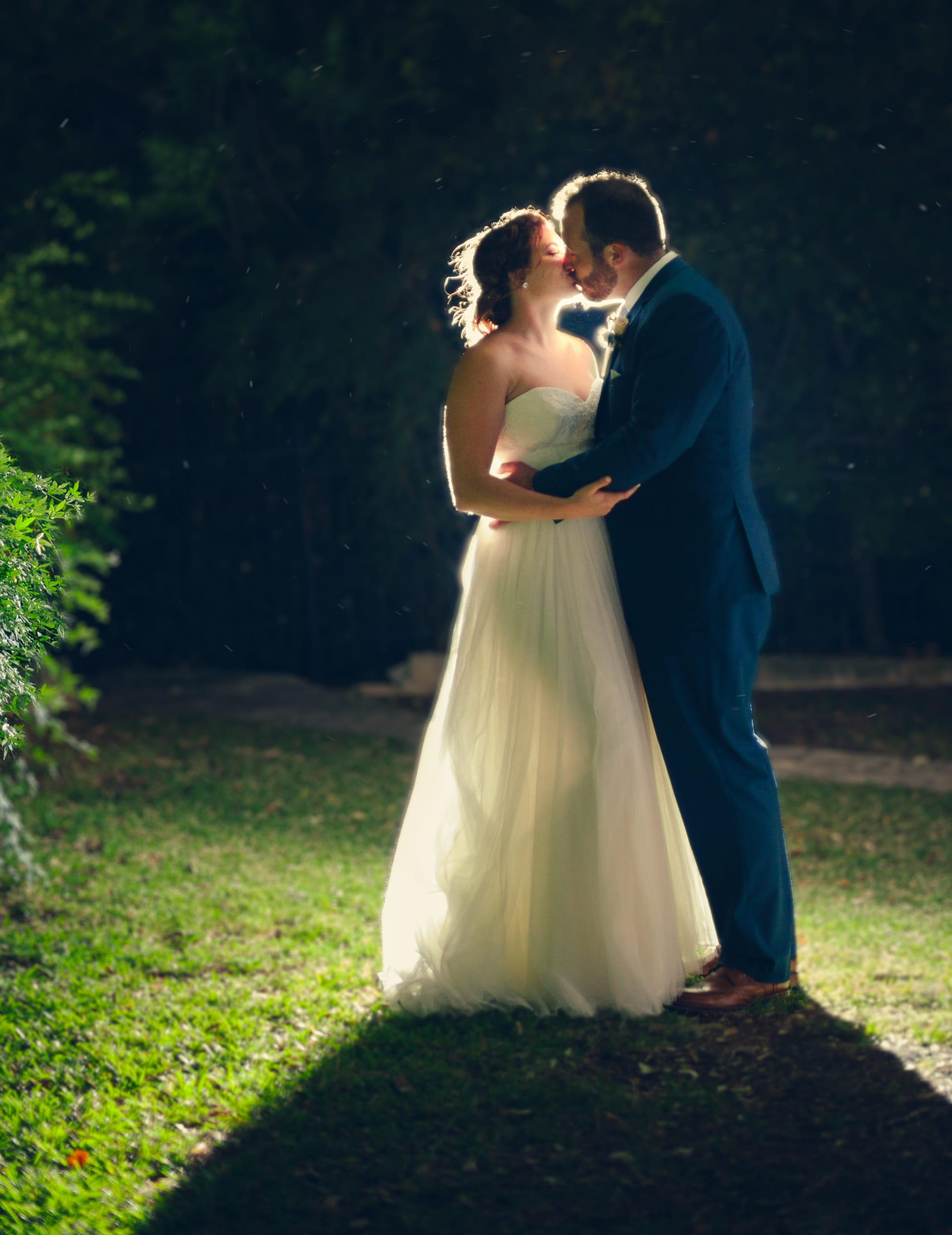 beautiful backlit wedding photo